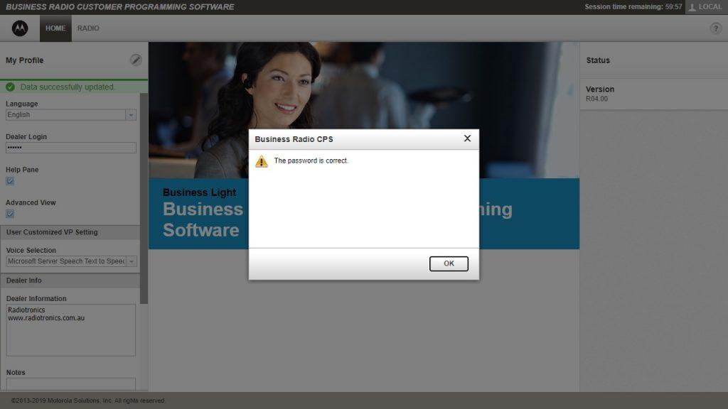 Motorola CLP Software Dealer Login Success